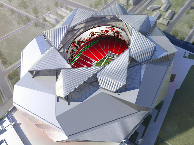 Atlanta mercedes stadium wont be open for openers for Who owns mercedes benz stadium