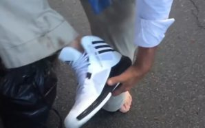 Viral Video: Homeless Veteran gets a new pair of Adidas…