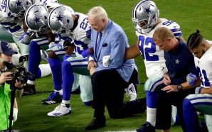Dallas Cowboys and Team Owner 'Jerry Jones' taking a knee…