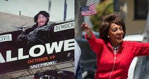 Maxine Waters Head Placed on Halloween billboard horror movie!