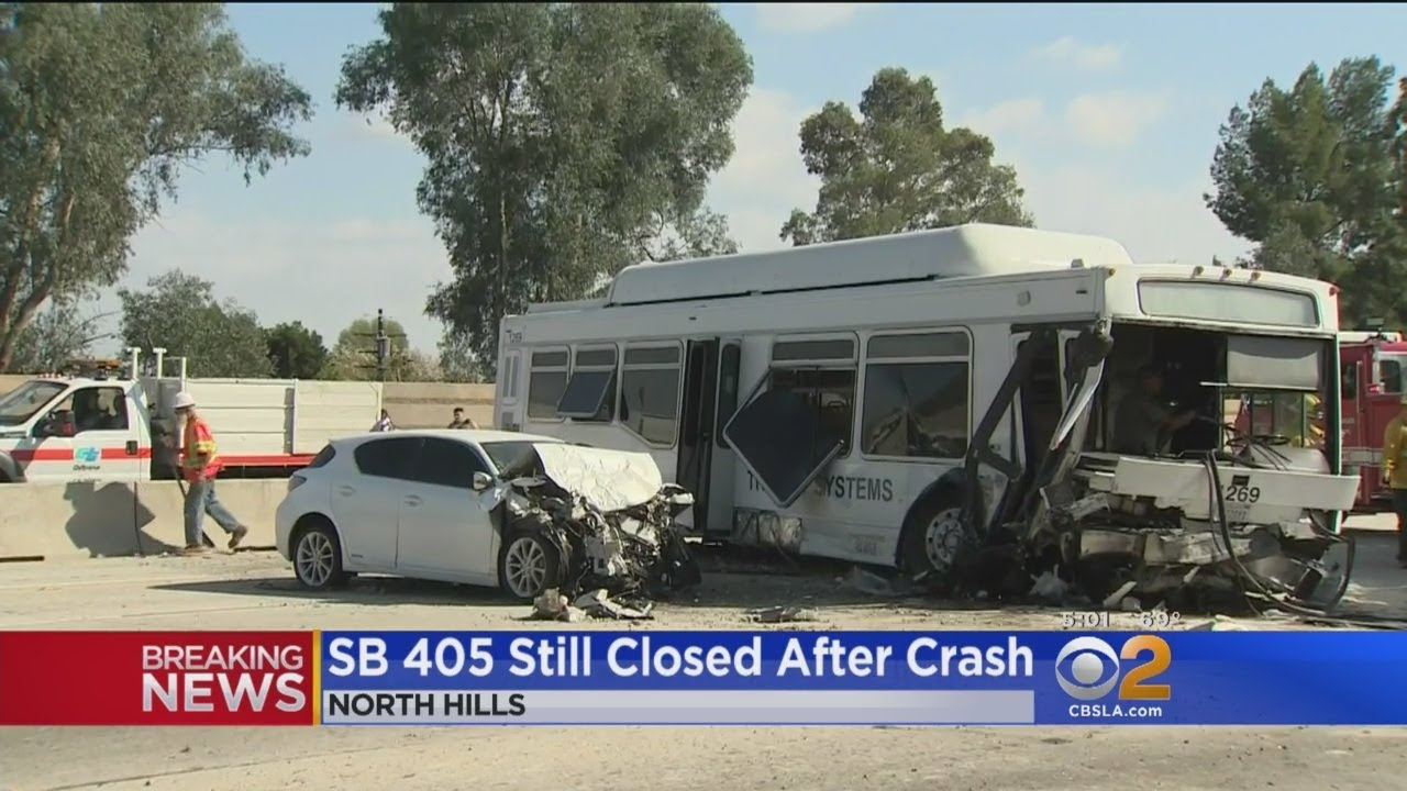 Bus Crash on 405 Freeway in North Hills Sends 25 to the