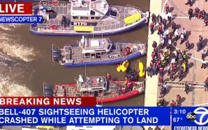 A helicopter has crashed into the Hudson River in New…