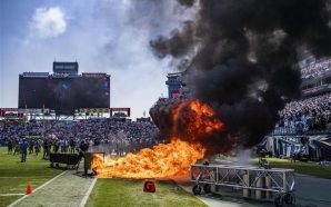 Fire erupts on field before game between Colts and Titans…