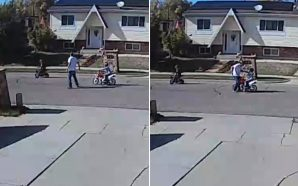 Two Kids Riding Their Motor Bikes In Street And Neighbor…